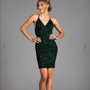 SCALA green low back sequin Christmas New Years